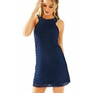 Lilly Pulitzer Mango Shift Dress Navy Lace Overlay